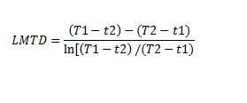 LMTD counter current flow equation