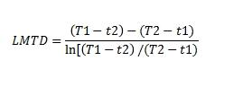LMTD counter current flow equation